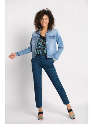 Pantalon 78eme a ceinture bleu petrole femme