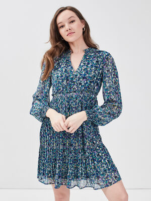 Robe evasee manches longues bleu femme