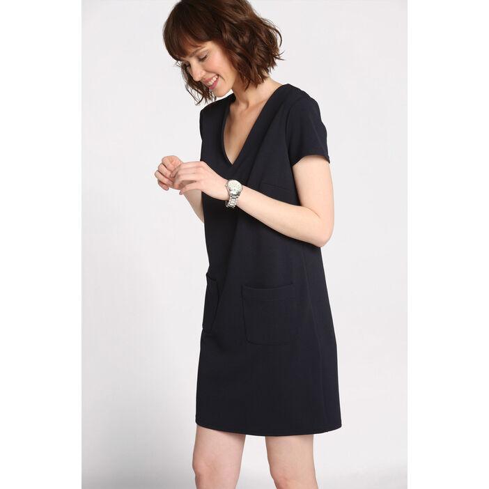 9043163998dd4 Robe courte droite col en V bleu marine femme | Vib's