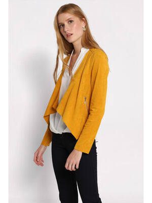 Veste cintree a pans jaune moutarde femme