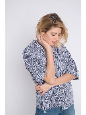 Veste kimono motif ethnique bleu femme