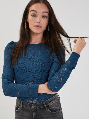 T shirt manches longues bleu petrole femme