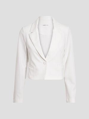 Veste blazer droite ecru femme