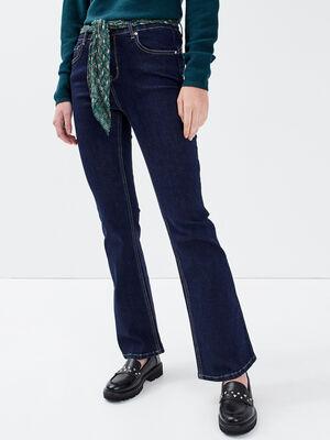 Jeans flare ceinture denim brut femme