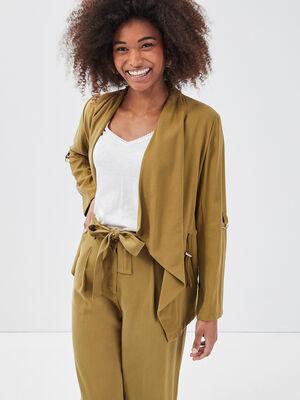 Veste droite a pans vert olive femme