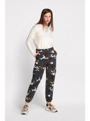Pantalon cargo bas elastique vert kaki femme