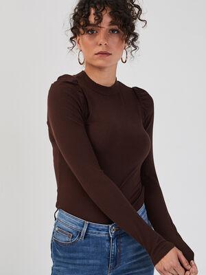 T shirt manches longues cotele marron fonce femme