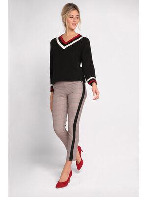 Pantalon city bandes laterales bordeaux femme