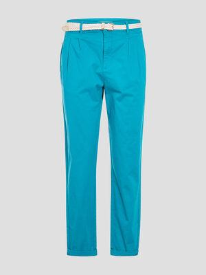 Pantalon chino ceinture vert turquoise femme