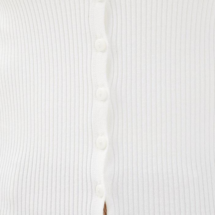 Gilet manches 3/4 boutonné ecru femme