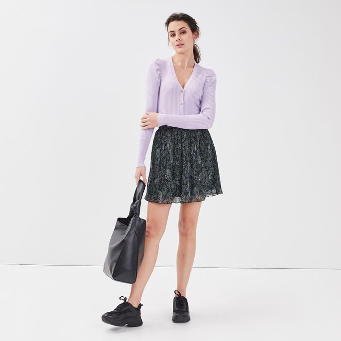 Gilet boutonné côtelé violet clair femme
