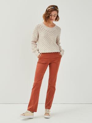 Jeans bootcut a pont marron cognac femme