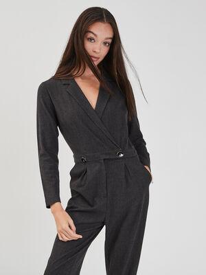 Combinaison pantalon droite gris fonce femme