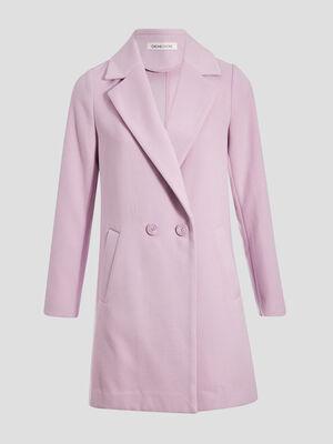 Manteau cintre col crante mauve femme