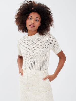 Pull manches courtes ajoure creme femme