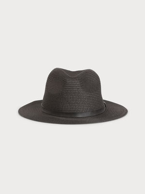 Chapeau borsalino tresse noir femme