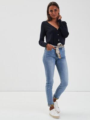 Jeans slim ceinture foulard denim double stone femme