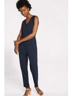 Combinaison pantalon dentelle bleu marine femme