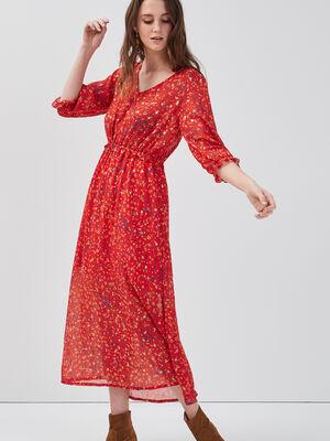 Robe longue evasee rouge femme