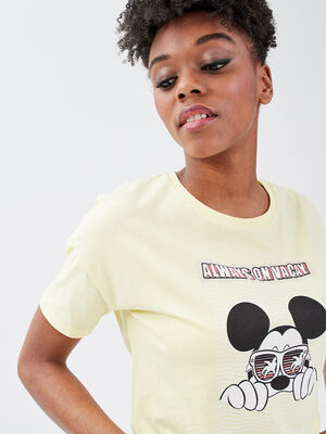 T shirt manches courtes Mickey jaune pastel femme