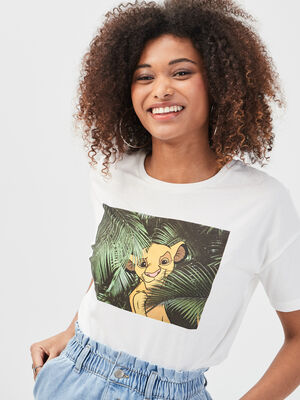 T shirt Roi Lion ecru femme