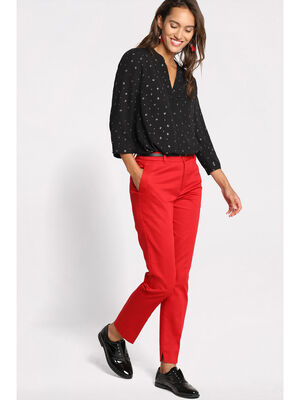 Pantalon 78eme a ceinture rouge femme