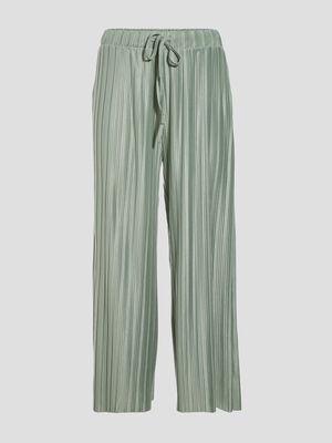 Pantalon ample fluide plisse vert pastel femme