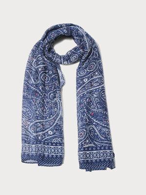 Foulard carre bleu electrique femme