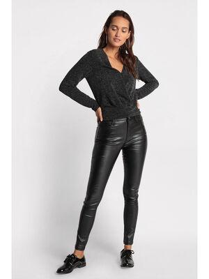 Pantalon skinny enduit denim noir enduit femme