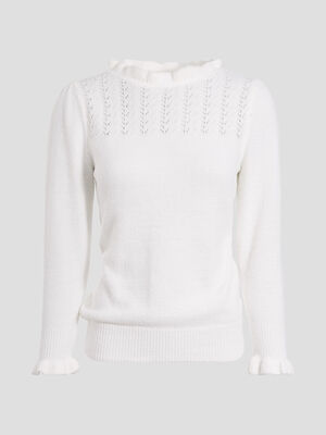Pull manches 34 blanc femme
