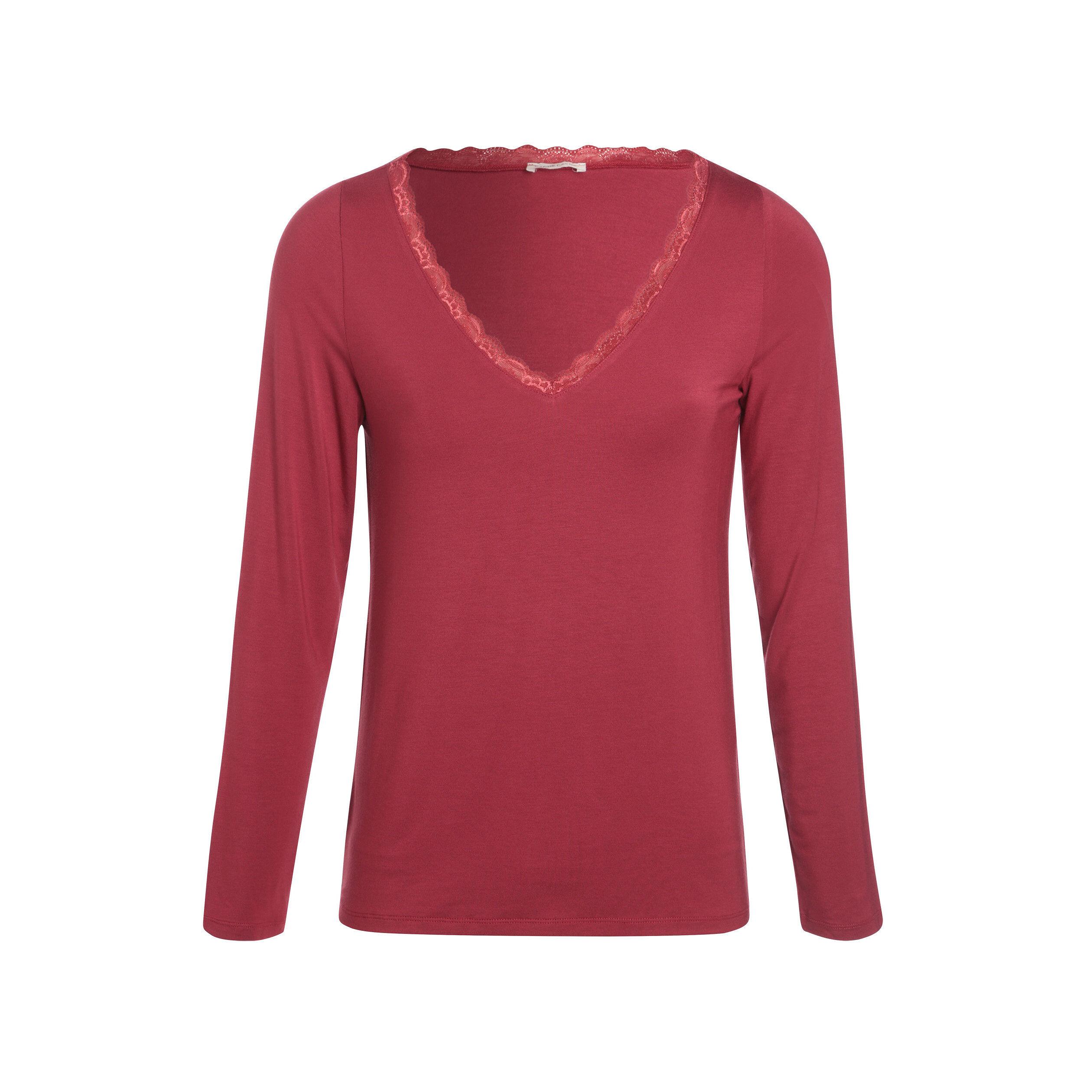 T-shirt manches longues rouge femme   Vib'