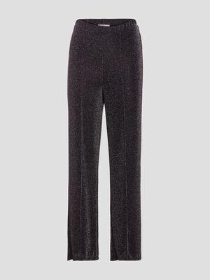 Pantalon large fils metallises noir femme