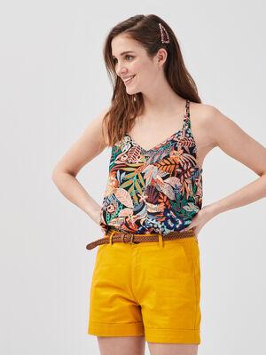 Short droit ceinture jaune femme