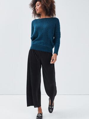 Pantalon ample plisse noir femme