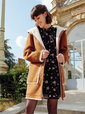 Manteau droit reversible camel femme