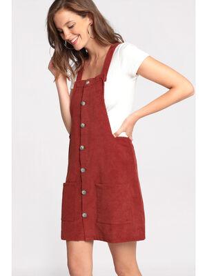 Robe chasuble en velours rouge fonce femme