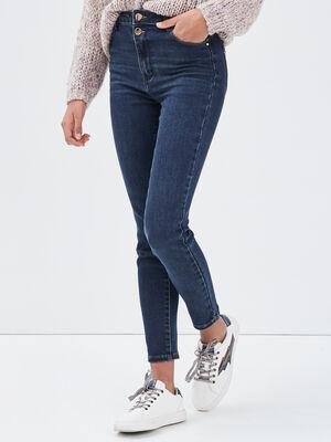 Jeans slim taille haute denim brut femme