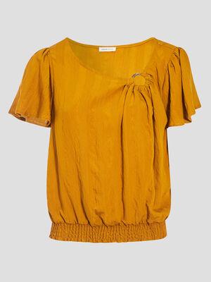 Blouse manches courtes smockee camel femme