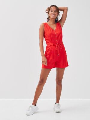 Combishort ceinture lin rouge femme