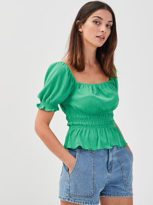 T shirt manches courtes smocke vert femme