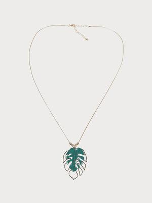 Collier pendentif feuilles couleur or femme