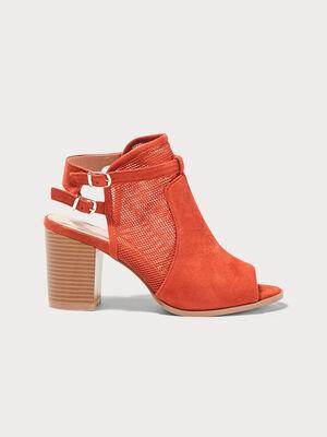 Sandales matiere ajouree talons carres orange fonce femme