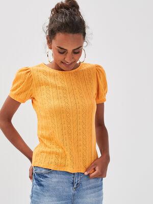 T shirt manches courtes ajoure orange clair femme
