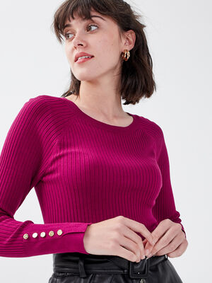 Pull manches longues cotele violet fonce femme