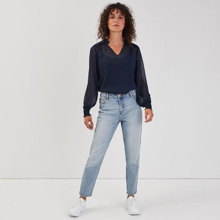 Jeans mom délavé denim double stone femme