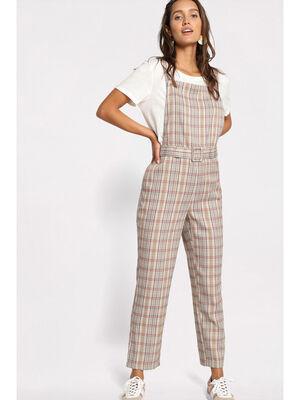 Combinaison pantalon tablier beige femme