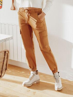 Pantalon cargo lien a coulisse beige femme