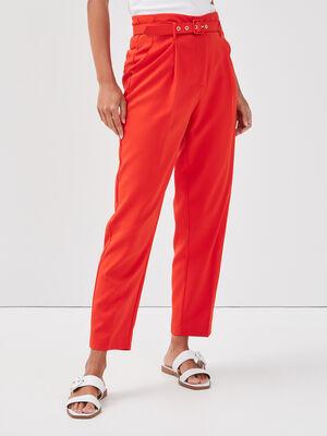 Pantalon droit ceinture rouge femme