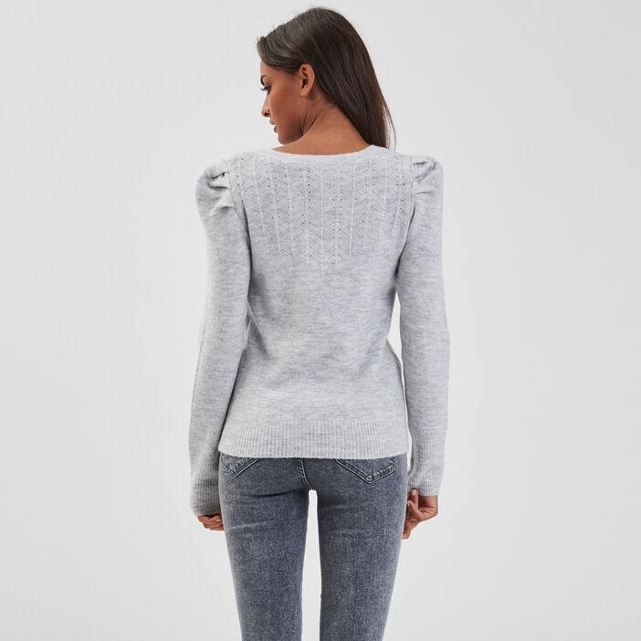 Pull ajouré épaules froncées gris clair femme