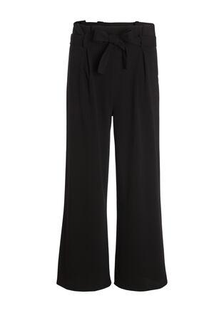 Pantalon large a ceinture noir femme